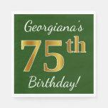 [ Thumbnail: Green, Faux Gold 75th Birthday + Custom Name Paper Napkin ]