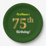 [ Thumbnail: Green, Faux Gold 75th Birthday + Custom Name Paper Plate ]