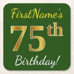 [ Thumbnail: Green, Faux Gold 75th Birthday + Custom Name Paper Coaster ]