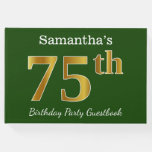 [ Thumbnail: Green, Faux Gold 75th Birthday Party + Custom Name Guest Book ]