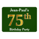 [ Thumbnail: Green, Faux Gold 75th Birthday Party + Custom Name Invitation ]