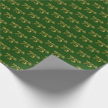 [ Thumbnail: Green, Faux Gold 75th (Seventy-Fifth) Event Wrapping Paper ]