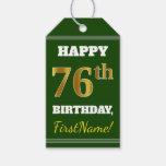 [ Thumbnail: Green, Faux Gold 76th Birthday + Custom Name Gift Tags ]