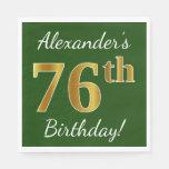 [ Thumbnail: Green, Faux Gold 76th Birthday + Custom Name Paper Napkin ]