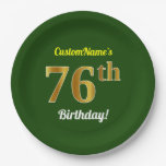 [ Thumbnail: Green, Faux Gold 76th Birthday + Custom Name Paper Plate ]