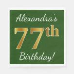 [ Thumbnail: Green, Faux Gold 77th Birthday + Custom Name Paper Napkin ]