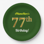 [ Thumbnail: Green, Faux Gold 77th Birthday + Custom Name Paper Plate ]