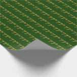 [ Thumbnail: Green, Faux Gold 77th (Seventy-Seventh) Event Wrapping Paper ]