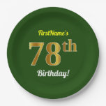[ Thumbnail: Green, Faux Gold 78th Birthday + Custom Name Paper Plate ]