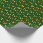 [ Thumbnail: Green, Faux Gold 78th (Seventy-Eighth) Event Wrapping Paper ]