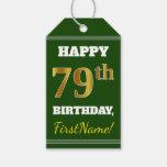 [ Thumbnail: Green, Faux Gold 79th Birthday + Custom Name Gift Tags ]