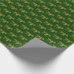 [ Thumbnail: Green, Faux Gold 79th (Seventy-Ninth) Event Wrapping Paper ]