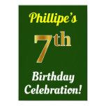 [ Thumbnail: Green, Faux Gold 7th Birthday Celebration + Name Invitation ]