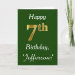 [ Thumbnail: Green, Faux Gold 7th Birthday + Custom Name Card ]