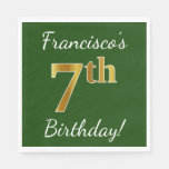 [ Thumbnail: Green, Faux Gold 7th Birthday + Custom Name Paper Napkin ]