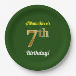 [ Thumbnail: Green, Faux Gold 7th Birthday + Custom Name Paper Plate ]