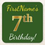 [ Thumbnail: Green, Faux Gold 7th Birthday + Custom Name Paper Coaster ]