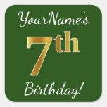 [ Thumbnail: Green, Faux Gold 7th Birthday + Custom Name Sticker ]