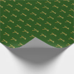 Hand shaped Green, Faux Gold 7th (Seventh) Event; Custom Names Wrapping Paper