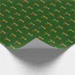 [ Thumbnail: Green, Faux Gold 7th (Seventh) Event Wrapping Paper ]