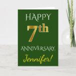 [ Thumbnail: Green, Faux Gold 7th Wedding Anniversary + Name Card ]