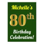 [ Thumbnail: Green, Faux Gold 80th Birthday Celebration + Name Invitation ]