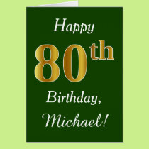 Green, Faux Gold 80th Birthday   Custom Name Card