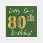 [ Thumbnail: Green, Faux Gold 80th Birthday + Custom Name Paper Napkin ]