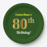 [ Thumbnail: Green, Faux Gold 80th Birthday + Custom Name Paper Plate ]