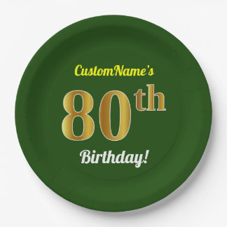 Green, Faux Gold 80th Birthday + Custom Name Paper Plate