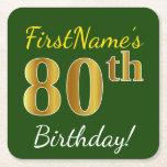 [ Thumbnail: Green, Faux Gold 80th Birthday + Custom Name Paper Coaster ]