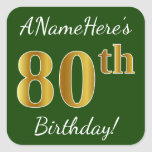 [ Thumbnail: Green, Faux Gold 80th Birthday + Custom Name Sticker ]
