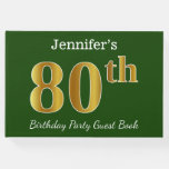 [ Thumbnail: Green, Faux Gold 80th Birthday Party + Custom Name Guest Book ]