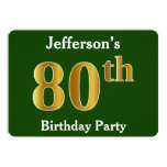 [ Thumbnail: Green, Faux Gold 80th Birthday Party + Custom Name Invitation ]
