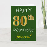 [ Thumbnail: Green, Faux Gold 80th Wedding Anniversary + Name Card ]