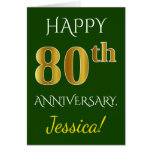 [ Thumbnail: Green, Faux Gold 80th Wedding Anniversary + Name Card ]