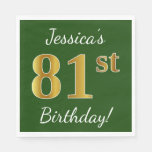 [ Thumbnail: Green, Faux Gold 81st Birthday + Custom Name Paper Napkin ]