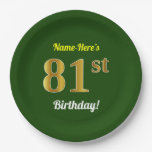 [ Thumbnail: Green, Faux Gold 81st Birthday + Custom Name Paper Plate ]