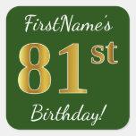 [ Thumbnail: Green, Faux Gold 81st Birthday + Custom Name Sticker ]