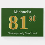 [ Thumbnail: Green, Faux Gold 81st Birthday Party + Custom Name Guest Book ]