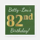 [ Thumbnail: Green, Faux Gold 82nd Birthday + Custom Name Napkin ]