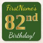 [ Thumbnail: Green, Faux Gold 82nd Birthday + Custom Name Paper Coaster ]