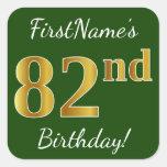 [ Thumbnail: Green, Faux Gold 82nd Birthday + Custom Name Sticker ]