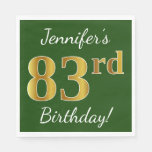 [ Thumbnail: Green, Faux Gold 83rd Birthday + Custom Name Paper Napkin ]