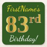 [ Thumbnail: Green, Faux Gold 83rd Birthday + Custom Name Paper Coaster ]
