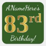 [ Thumbnail: Green, Faux Gold 83rd Birthday + Custom Name Sticker ]