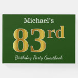 [ Thumbnail: Green, Faux Gold 83rd Birthday Party + Custom Name Guest Book ]