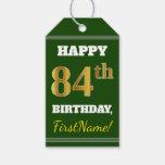 [ Thumbnail: Green, Faux Gold 84th Birthday + Custom Name Gift Tags ]