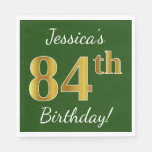 [ Thumbnail: Green, Faux Gold 84th Birthday + Custom Name Paper Napkin ]