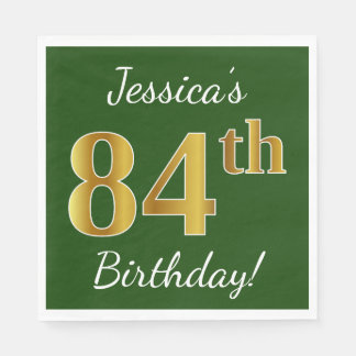 Green, Faux Gold 84th Birthday + Custom Name Paper Napkin